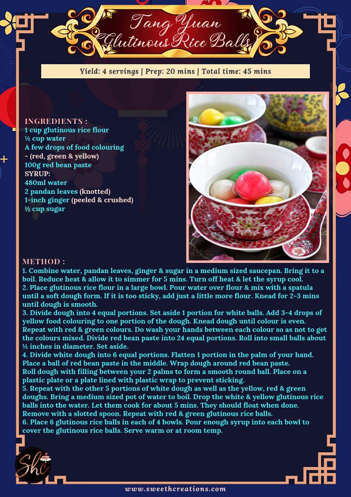 TANG YUAN (GLUTINOUS RICE BALLS) RECIPE