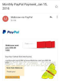 Bayaran ketiga dari mobicow sebulan $90.84