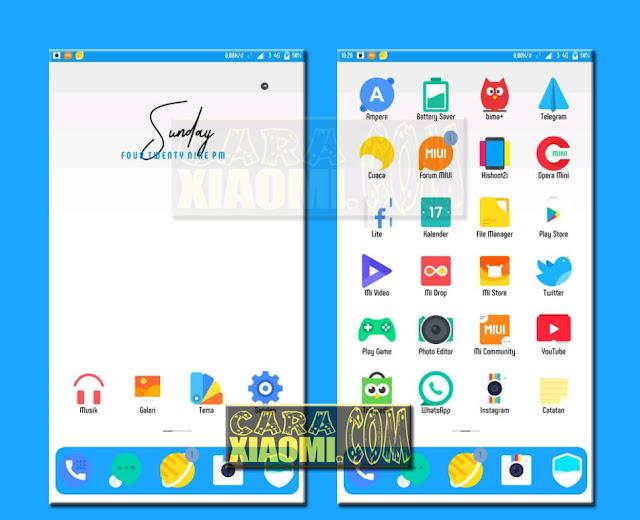 Update Tema Xiaomi Redmi Mation Blue Mtz For MIUI V8 / V9 Themes Terbaru