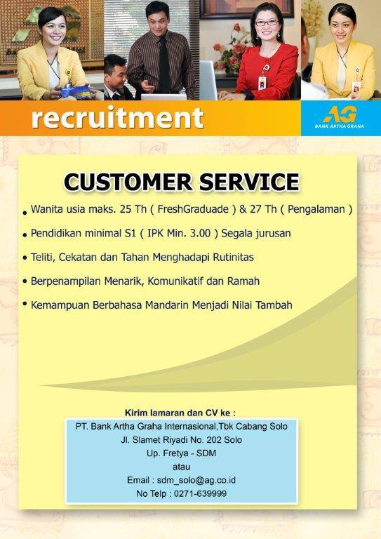 Lowongan Kerja Customer Service PT Bank Artha Graha Internasional