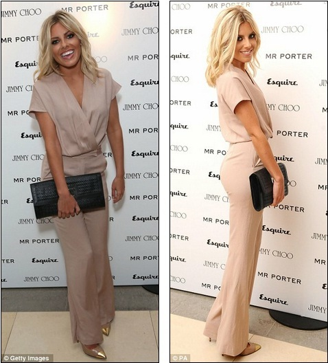 KATCHING MY I: Mollie King shines in nude pantsuit at