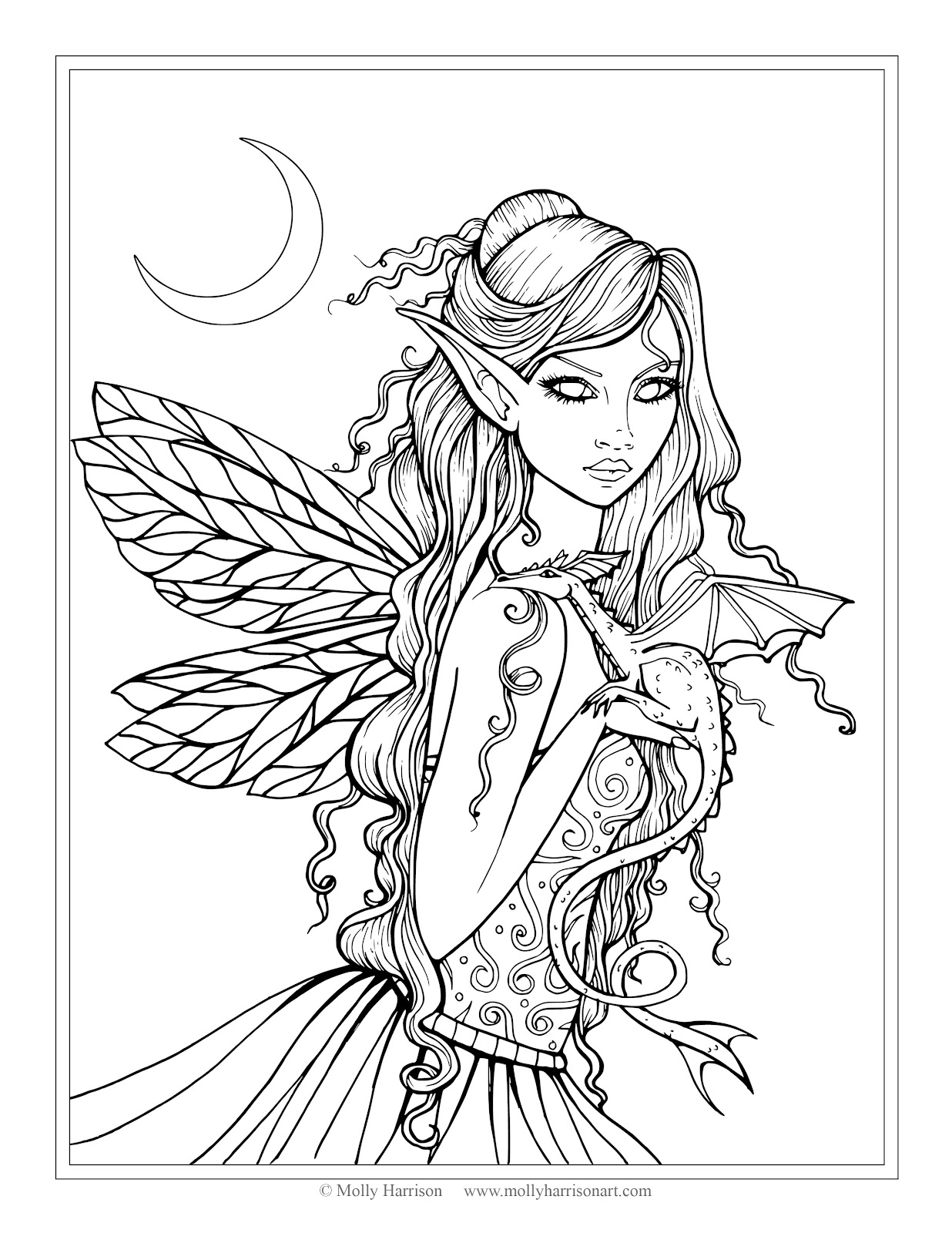Free Fairy And Dragon Coloring Page By Molly Harrison Fantasy Art Amethyst Adult Pagescolouring