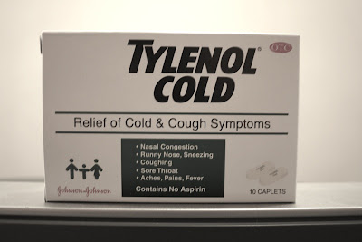 side of Tylenol Cold medicine box with English writing
