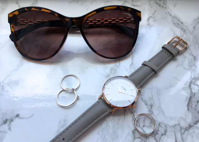 Primark sunglasses, ASOS silver rings, Cluse watch