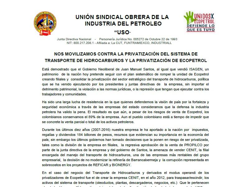 Nos movilizamos contra la privatización del sistema de transporte de hidrocarburos y la privatización de Ecopetrol