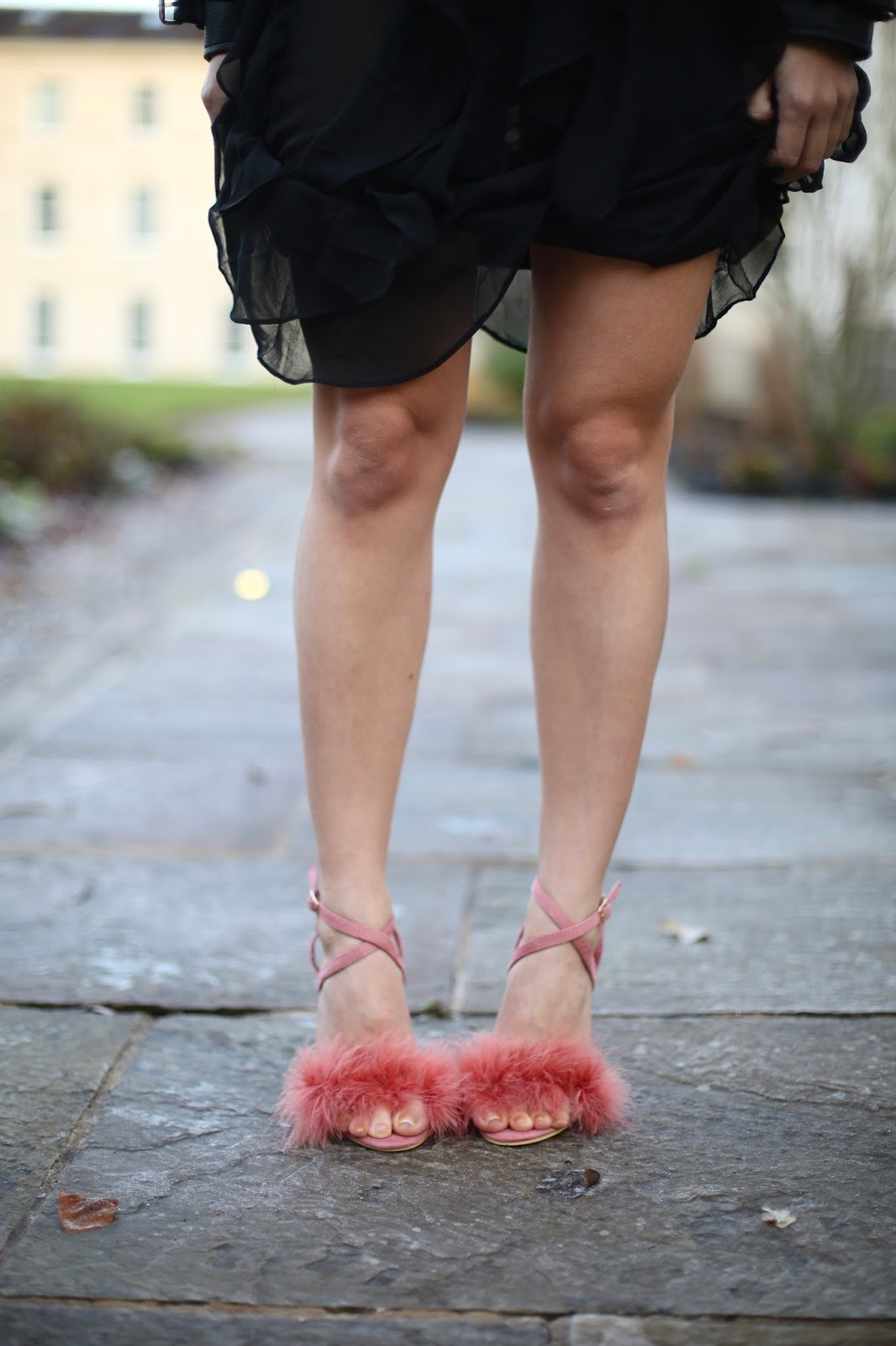 fluffy pink shoes