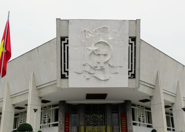 Facade of the Ho Chi Minh Museum in Hanoi Vietnam