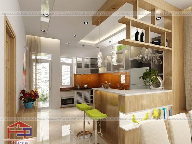 phòng bếp trong phòng khách