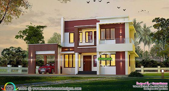 2225 sq-ft cute flat roof house