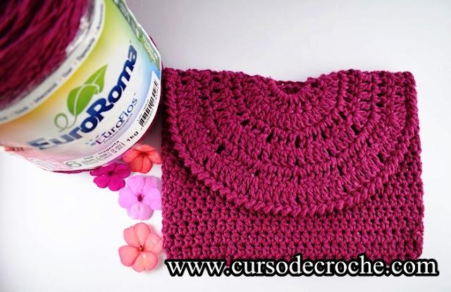 aprender croche com bolsa de croche edinir-croche bolsa de mão curso de croche clutch euroroma