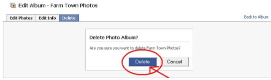 how to delete an album on facebook page