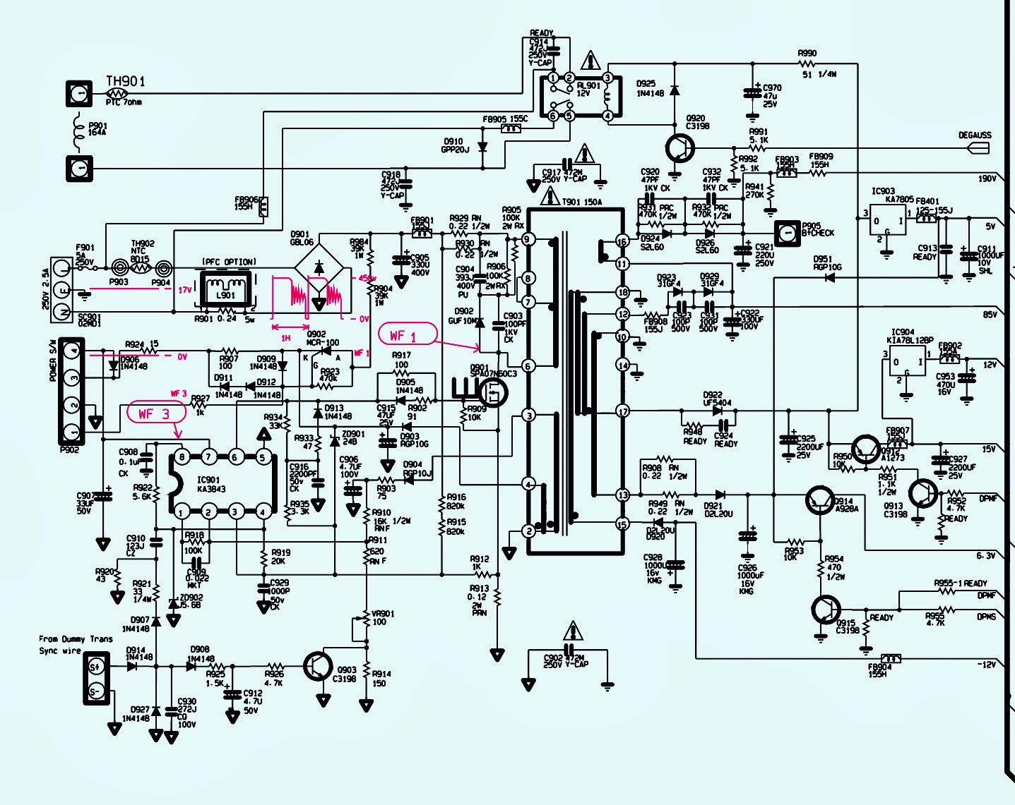LG FLATRON F900B POWER SUPPLY SMPS SCHEMATIC