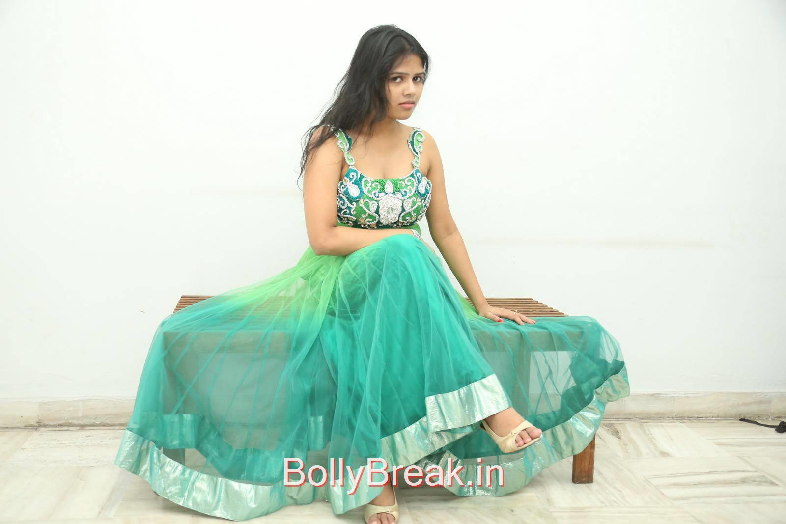 Lucky Pics At Calling Bell Movie Audio Launch Event, Lucky Hot Pics In Green Dress from Calling Bell Movie Audio Release Event