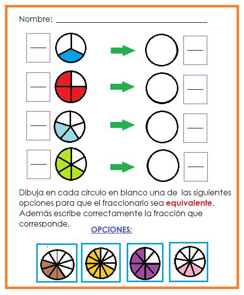 Fichas De Primaria Ficha De Fracciones Equivalentes