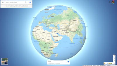 Globe on with terrain view
