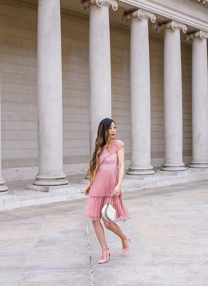 pleated dusty pink one shoulder dress, chloe nile bag, tassel earrings, christian louboutin pink pumps, san francisco style blog, san francisco street style, date night outfit ideas