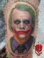 Tatuaje de The Joker Heath Ledger cara