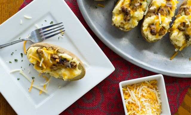A recipe for the traditional comfort food of twice baked potatoes, with an added touch of jerk chicken.
