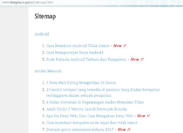 Cara Memasang Sitemap di Blog Mudah dan SEO