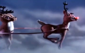 Rudolph leading the way in Rudolph the Red-Nosed Reindeer 1964 animatedfilmreviews.filminspector.com