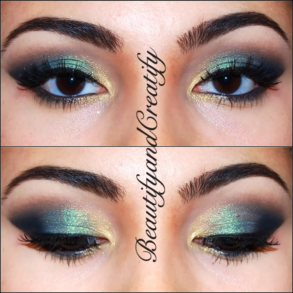 shimmery turquoise and gold holiday makeup tutorial. Black Bedroom Furniture Sets. Home Design Ideas