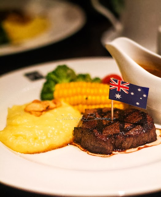 Australian Black Angus Tenderloin cooked to medium with Daily Spring vegetables, mashed potato and mushroom sauce