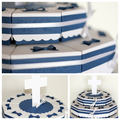 First Communion Paper Cake Slices | Party Favor Treat Boxes by ilovedoingallthingscrafty.com