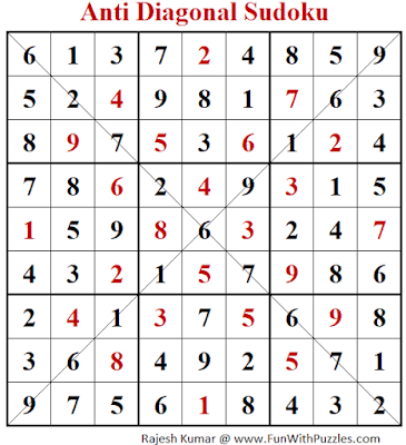 Answer of Anti Diagonal Sudoku Puzzle (Fun With Sudoku #389)