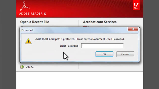 What is the Password to Open an e-Aadhaar card PDF File