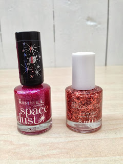 a close up of the pink Rimmel nail varnish and the burnt orange Avon nail varnish