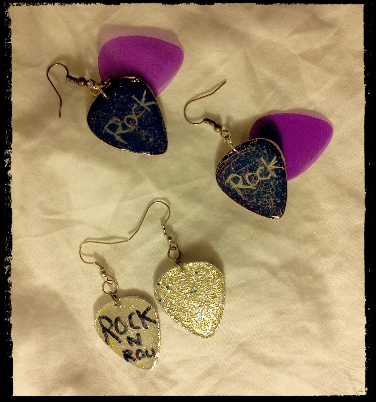 Rock themed Guitar Pick Earrings