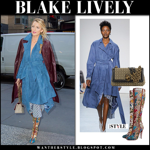 Blake Lively in blue suede wrap dress jonathan simkhai and lace embroidered boots christian louboutin street fashion october 16 2017