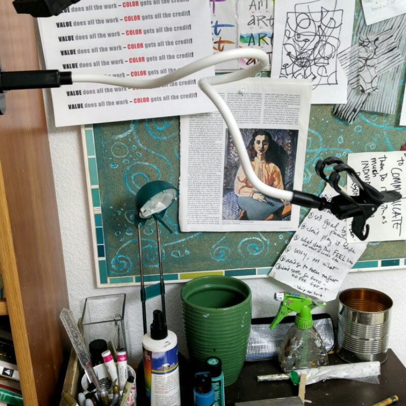 video set up over my art desk