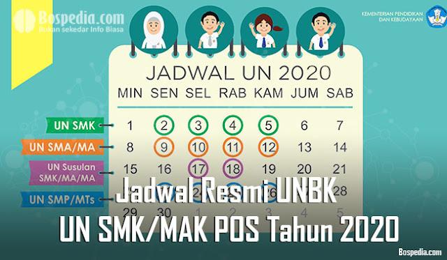 Jadwal Resmi UNBK dan UN SMK/MAK Berdasarkan POS Tahun 2020