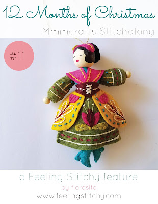 12 Months of Chrsitmas Stitchalong 11 Lady Dancing pattern by Larissa Holland as stitched by floresita for Feeling Stitchy
