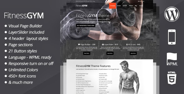 Gym fitness WordPress Template