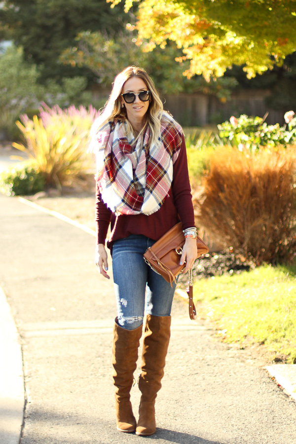 parlor girl red sweater plaid scarf