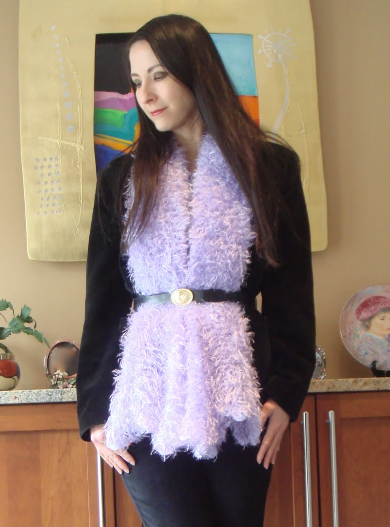 Black Velvet & Purple Fuzz outfit  - top body head to the side.