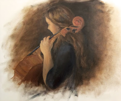 G. Sivitz, oil painting, portrait, cello, cellist, art