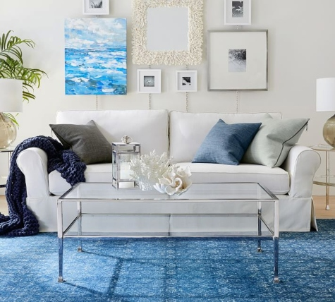 Blue and White Coastal Living Room Glass Coffee Table