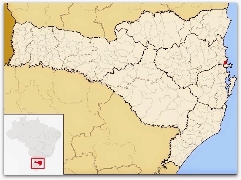 Cidade de Itapema, no mapa de Santa Catarina