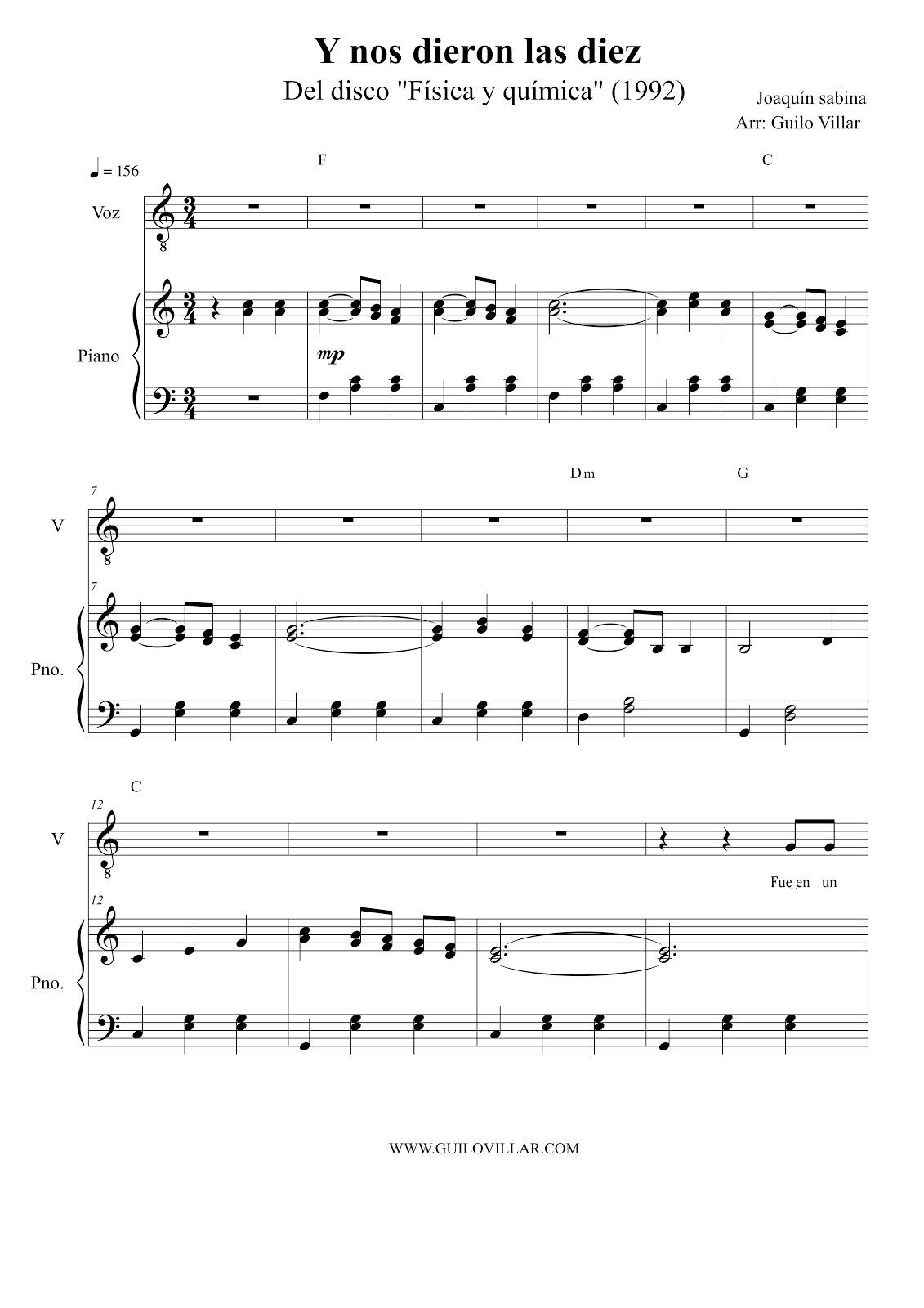 Joaquin Sabina Y Nos Dieron Las Diez Partitura Para Piano Y Voz
