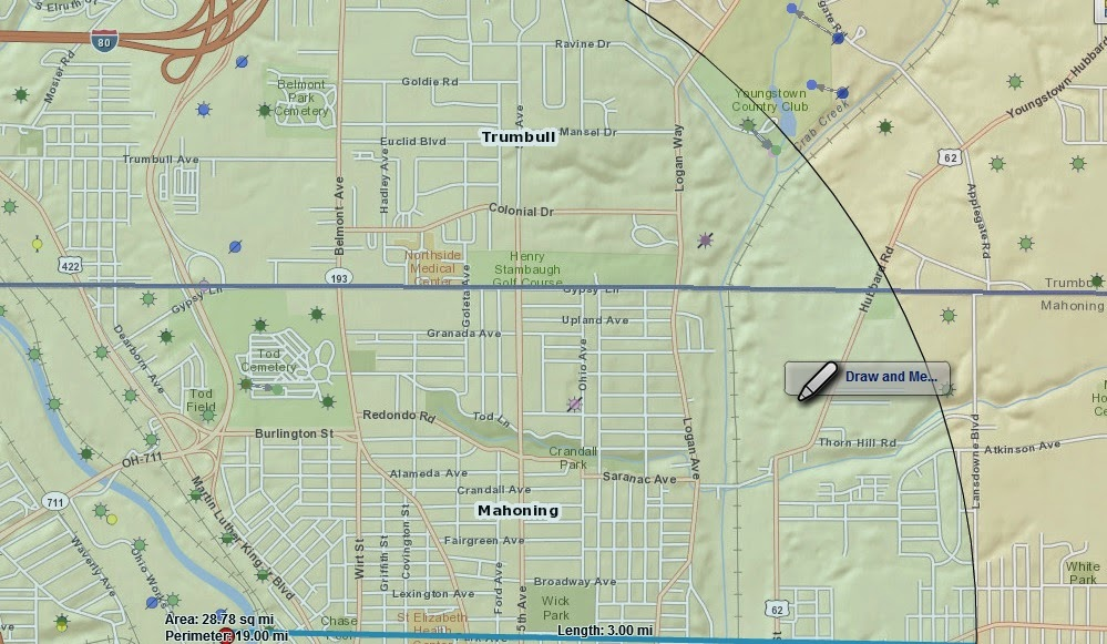 map of radioactive fracking waste processing plant Youngstown Ohio