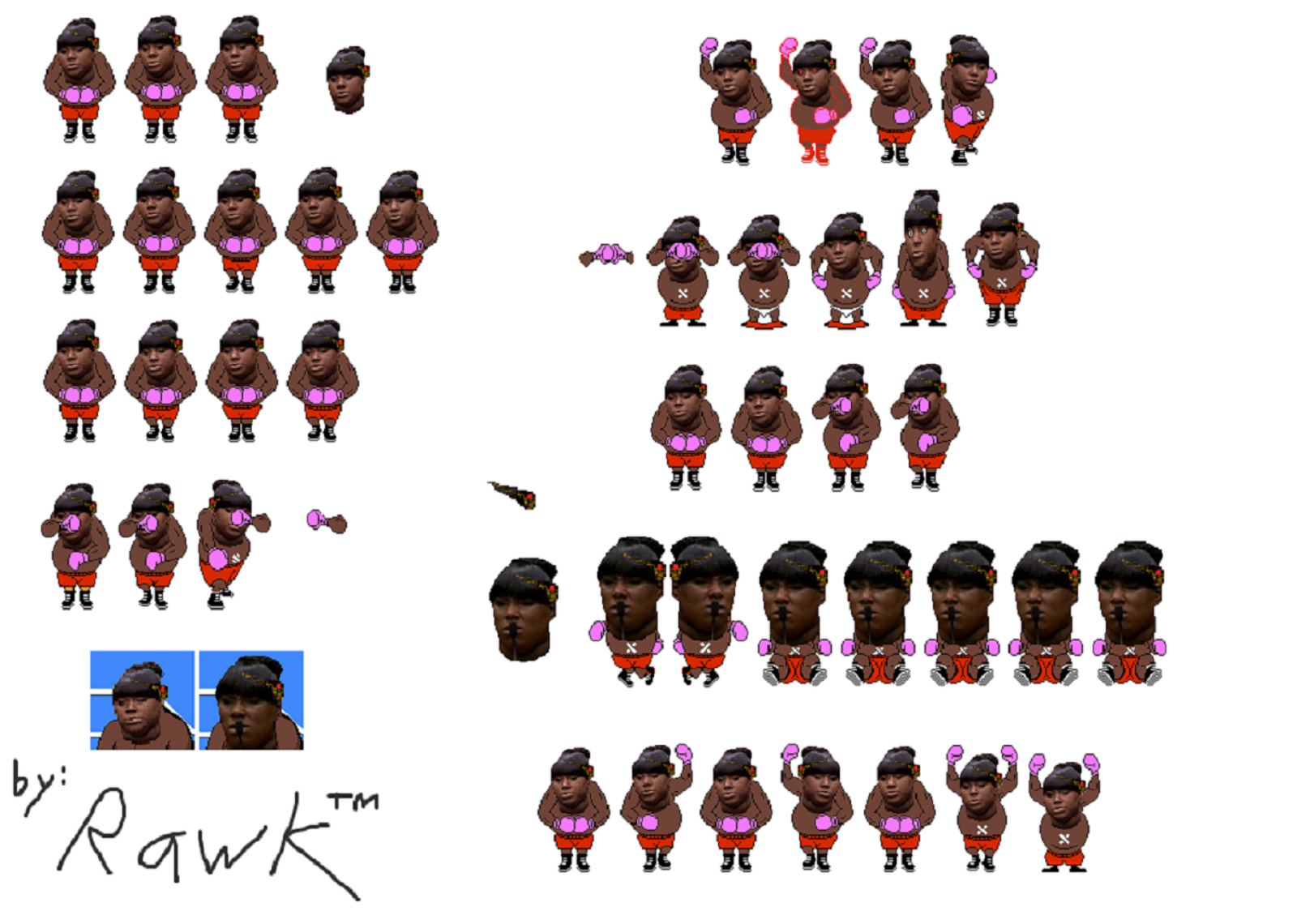 Rachel Jeantel's sprite sheet in Trayvon Tyson's Punch-Out!!