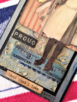 Sara Emily Barker http://sarascloset1.blogspot.com/ God Bless America, Land That I Love tag #timholtz #ideaology #rangerdistress #sizzixalterations