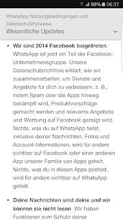 Screenshot WhatsApp Nutzungsbedingungen und Datenschutzrichtlinie Wesentliche Updates I