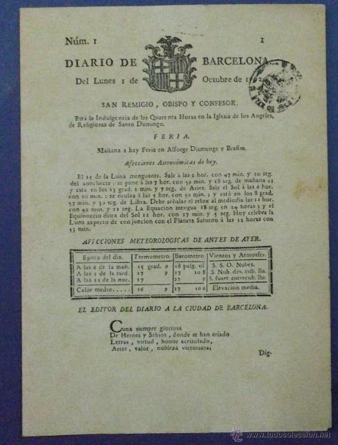 Diario de Barcelona , 1 octubre 1792