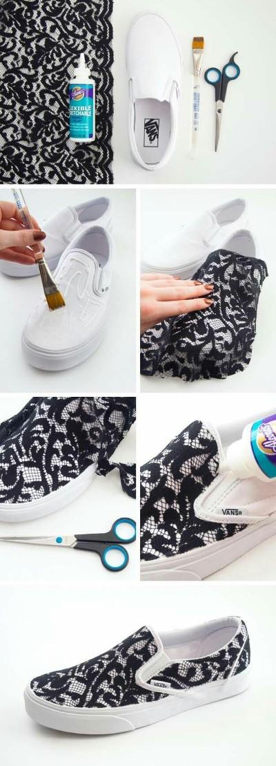 Gunakan renda hitam untuk makeover sepatu slip-on biasa