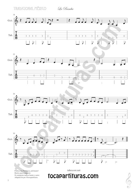 Partitura 2  La Bamba Punteo Tablature Sheet Music for Violin Tabs Music Scores
