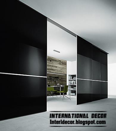Modern Sliding Fibreglass Door Wide Design For Office Room, Black Door
